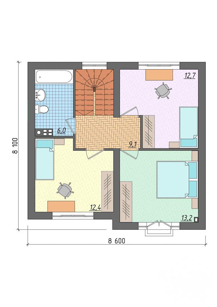 Дизайн фасада частного дома 100м2 в Щелкун 5