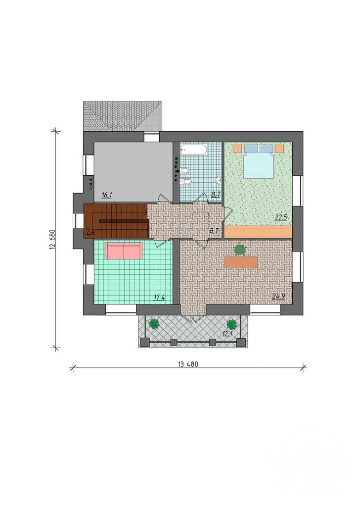 Дизайн проект фасада двухэтажного дома 210 м2 в Сочи 5