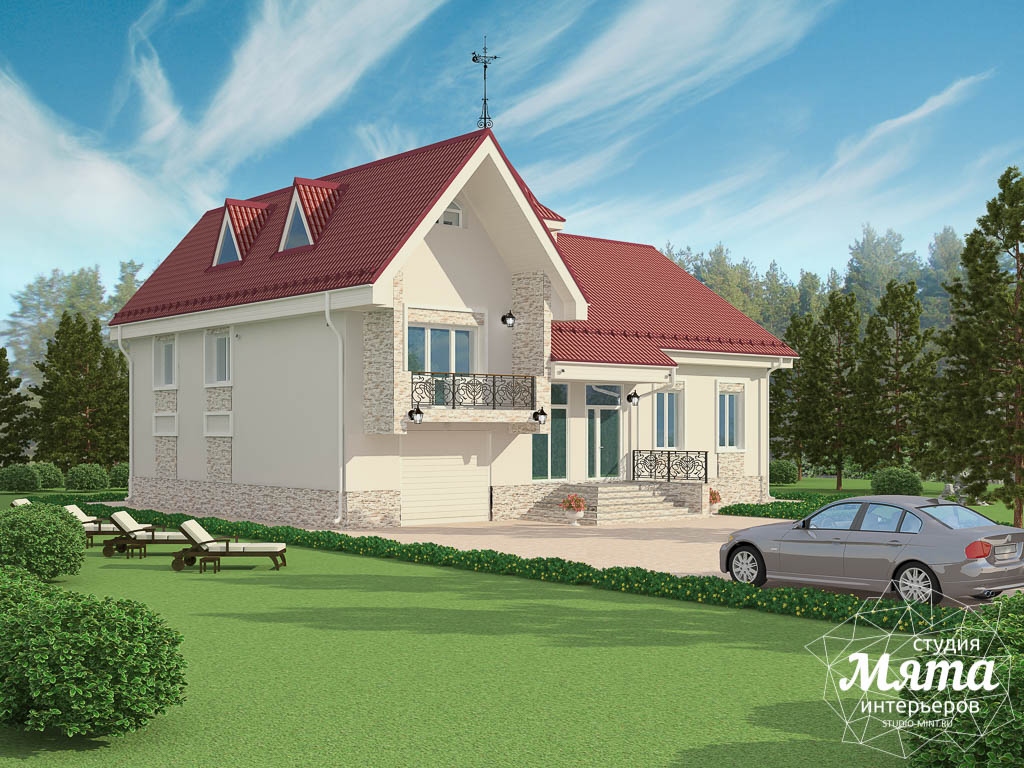 Дизайн фасада коттеджа 195 м2 в Москве img568536236
