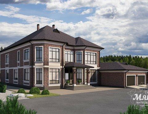 Дизайн фасада дома, бани, гостевого дома и проект участка в Москве