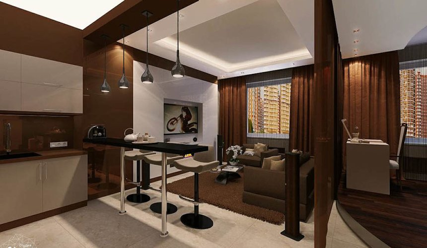 Дизайн интерьера однокомнатной квартиры по ул. Громова 30 2
