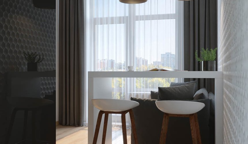 Дизайн интерьера однокомнатной квартиры в ЖК Чемпион Парк 4