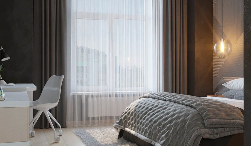 Дизайн интерьера однокомнатной квартиры в ЖК Чемпион Парк 13
