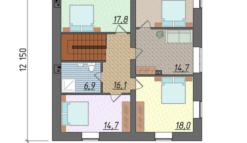 Дизайн проект фасада коттеджа 290 м2 в г. Сургут 4