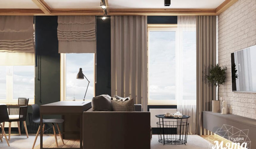 Дизайн интерьера квартиры - студии в ЖК Солнечный 4