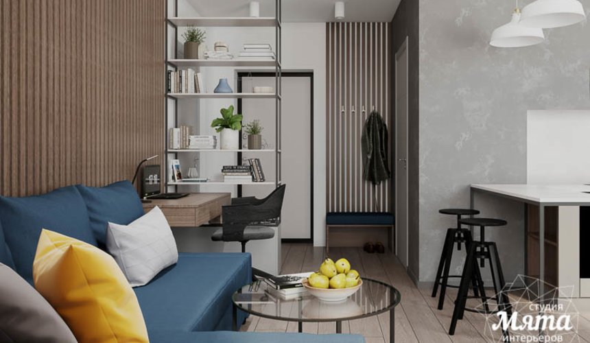 Дизайн интерьера квартиры - студии в ЖК Стрелки 4